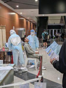 カンボジア空港のコロナ検査